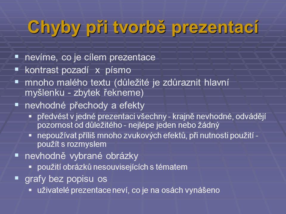 Chyby při tvorbě prezentací  nevíme, co je cílem prezentace  kontrast pozadí x písmo  mnoho malého textu (důležité je zdůraznit hlavní myšlenku - z