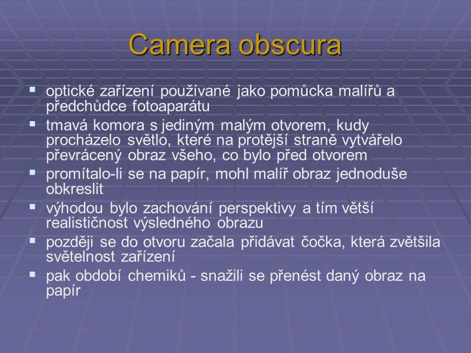 Camera obscura  optické zařízení používané jako pomůcka malířů a předchůdce fotoaparátu  tmavá komora s jediným malým otvorem, kudy procházelo světl