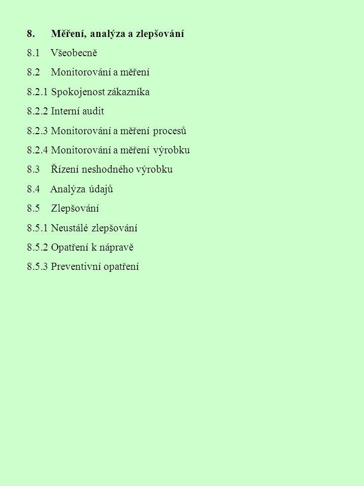 8. Měření, analýza a zlepšování 8.1 Všeobecně 8.2 Monitorování a měření 8.2.1 Spokojenost zákazníka 8.2.2 Interní audit 8.2.3 Monitorování a měření pr