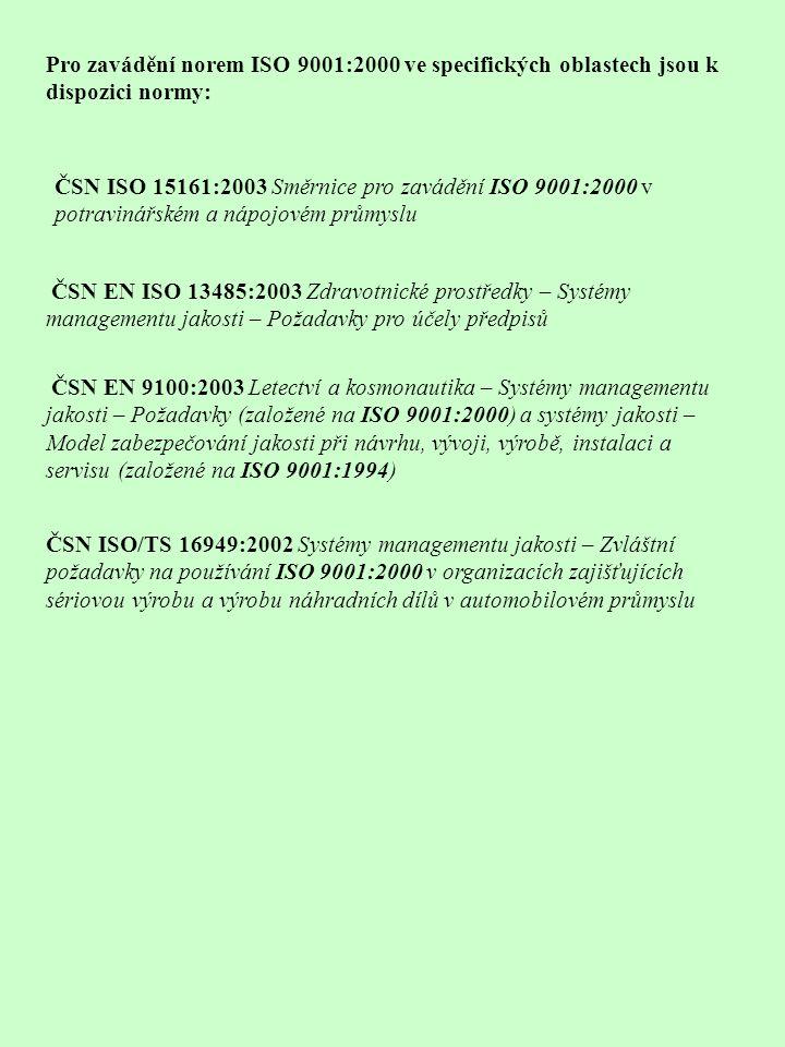 Pro zavádění norem ISO 9001:2000 ve specifických oblastech jsou k dispozici normy: ČSN ISO 15161:2003 Směrnice pro zavádění ISO 9001:2000 v potravinářském a nápojovém průmyslu ČSN EN ISO 13485:2003 Zdravotnické prostředky – Systémy managementu jakosti – Požadavky pro účely předpisů ČSN EN 9100:2003 Letectví a kosmonautika – Systémy managementu jakosti – Požadavky (založené na ISO 9001:2000) a systémy jakosti – Model zabezpečování jakosti při návrhu, vývoji, výrobě, instalaci a servisu (založené na ISO 9001:1994) ČSN ISO/TS 16949:2002 Systémy managementu jakosti – Zvláštní požadavky na používání ISO 9001:2000 v organizacích zajišťujících sériovou výrobu a výrobu náhradních dílů v automobilovém průmyslu