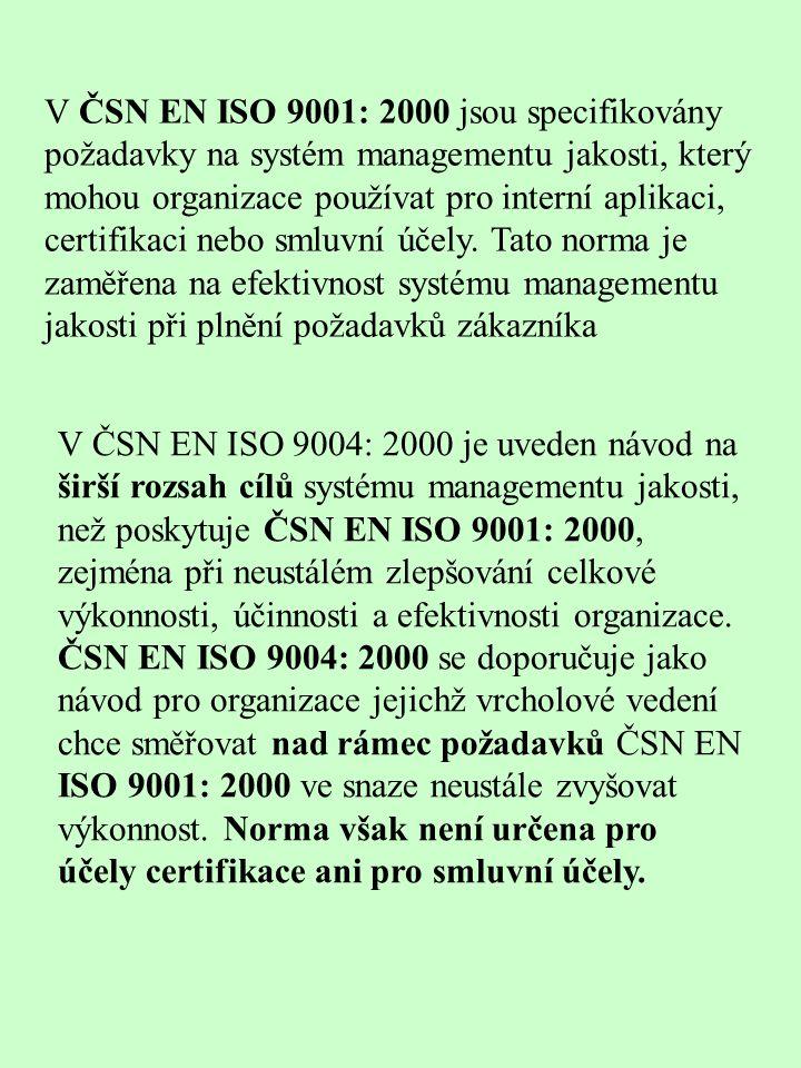 V ČSN EN ISO 9001: 2000 jsou specifikovány požadavky na systém managementu jakosti, který mohou organizace používat pro interní aplikaci, certifikaci nebo smluvní účely.