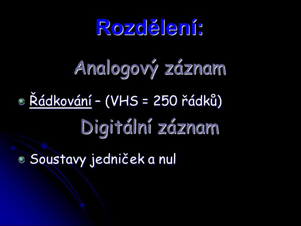 Rozdělení: Řádkování – (VHS = 250 řádků) Soustavy jedniček a nul Digitální záznam Analogový záznam