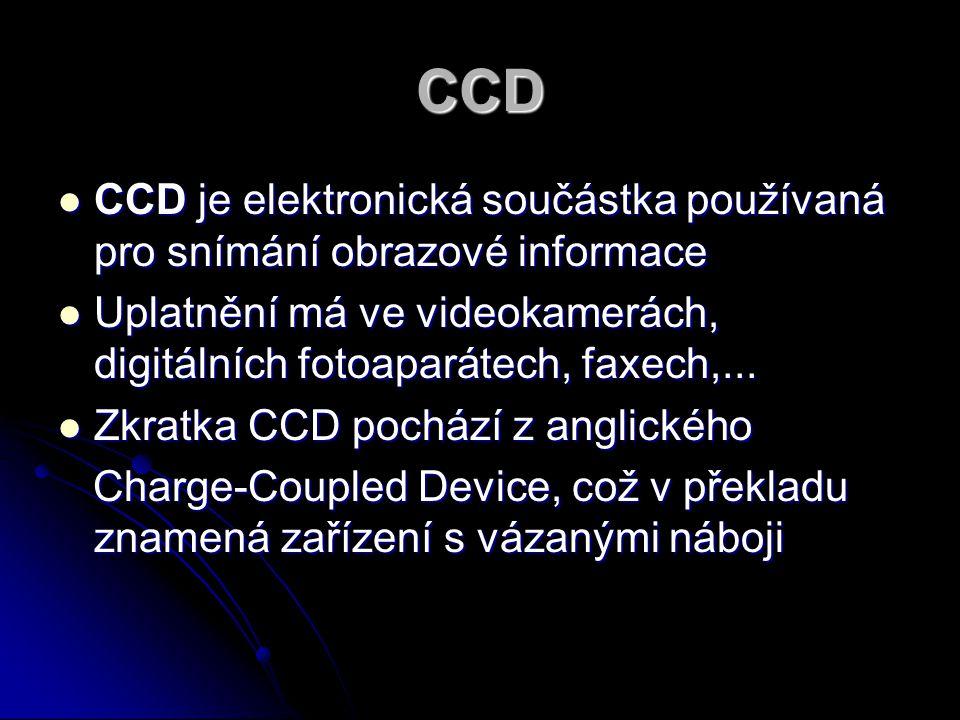 CCD CCD je elektronická součástka používaná pro snímání obrazové informace CCD je elektronická součástka používaná pro snímání obrazové informace Upla