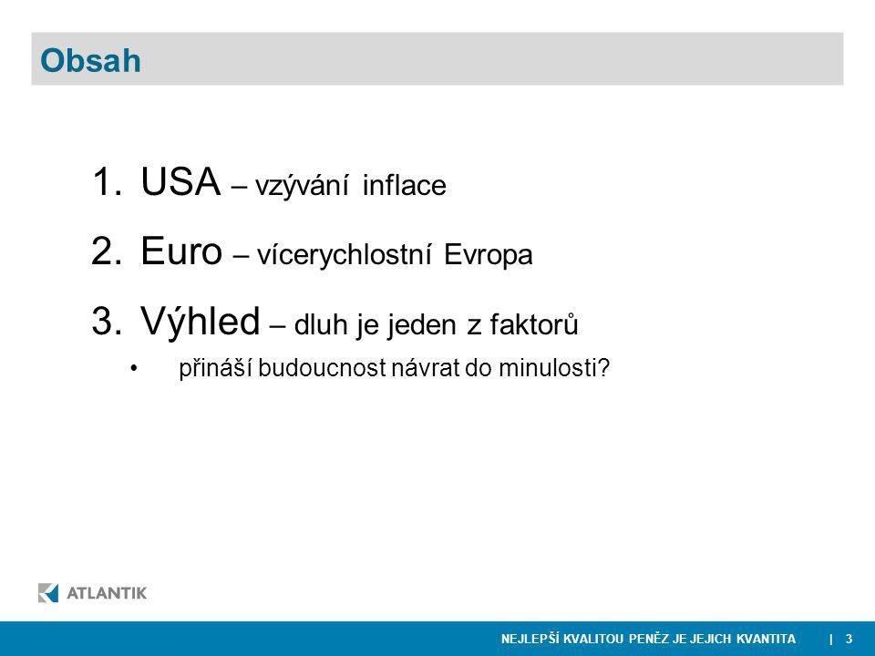 NEJLEPŠÍ KVALITOU PENĚZ JE JEJICH KVANTITA 1.USA – vzývání inflace 2.Euro – vícerychlostní Evropa 3.Výhled – dluh je jeden z faktorů přináší budoucnost návrat do minulosti.