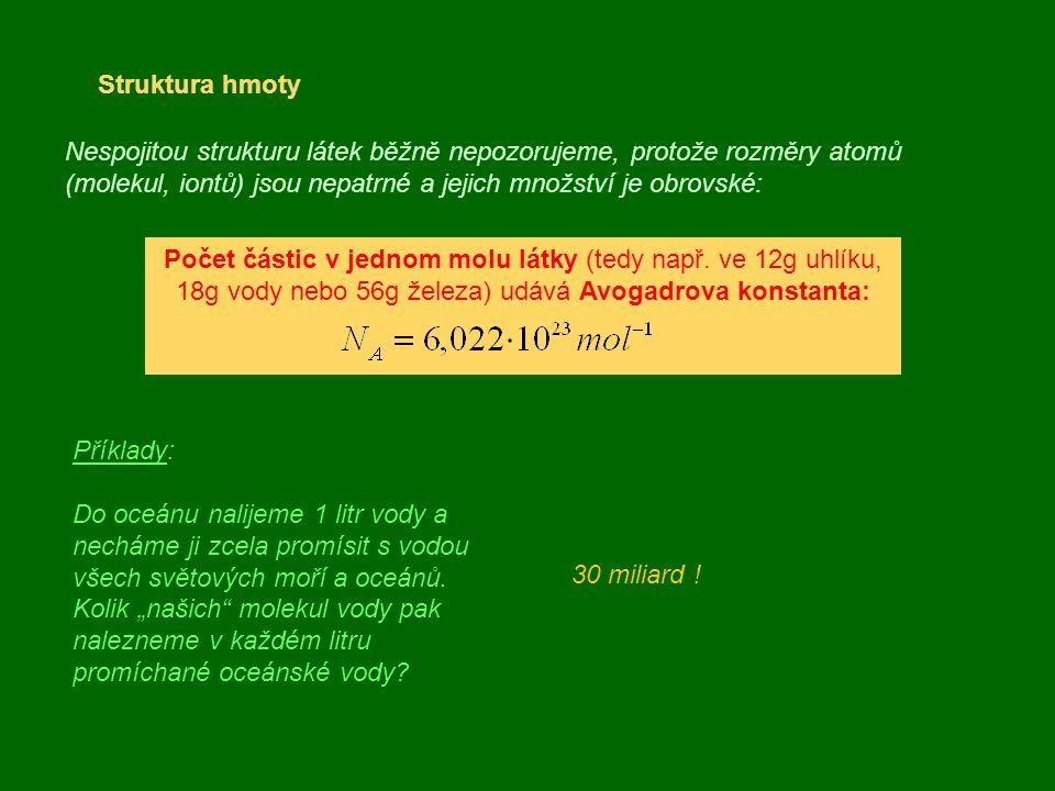 Struktura hmoty Nespojitou strukturu látek běžně nepozorujeme, protože rozměry atomů (molekul, iontů) jsou nepatrné a jejich množství je obrovské: Poč