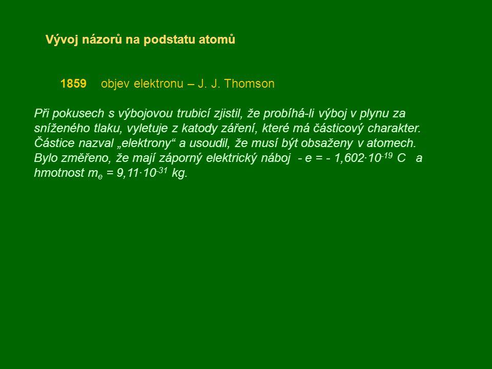 Vývoj názorů na podstatu atomů 1859 objev elektronu – J. J. Thomson Při pokusech s výbojovou trubicí zjistil, že probíhá-li výboj v plynu za sníženého