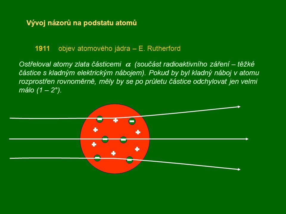 Vývoj názorů na podstatu atomů 1911 objev atomového jádra – E. Rutherford Ostřeloval atomy zlata částicemi  (součást radioaktivního záření – těžké č