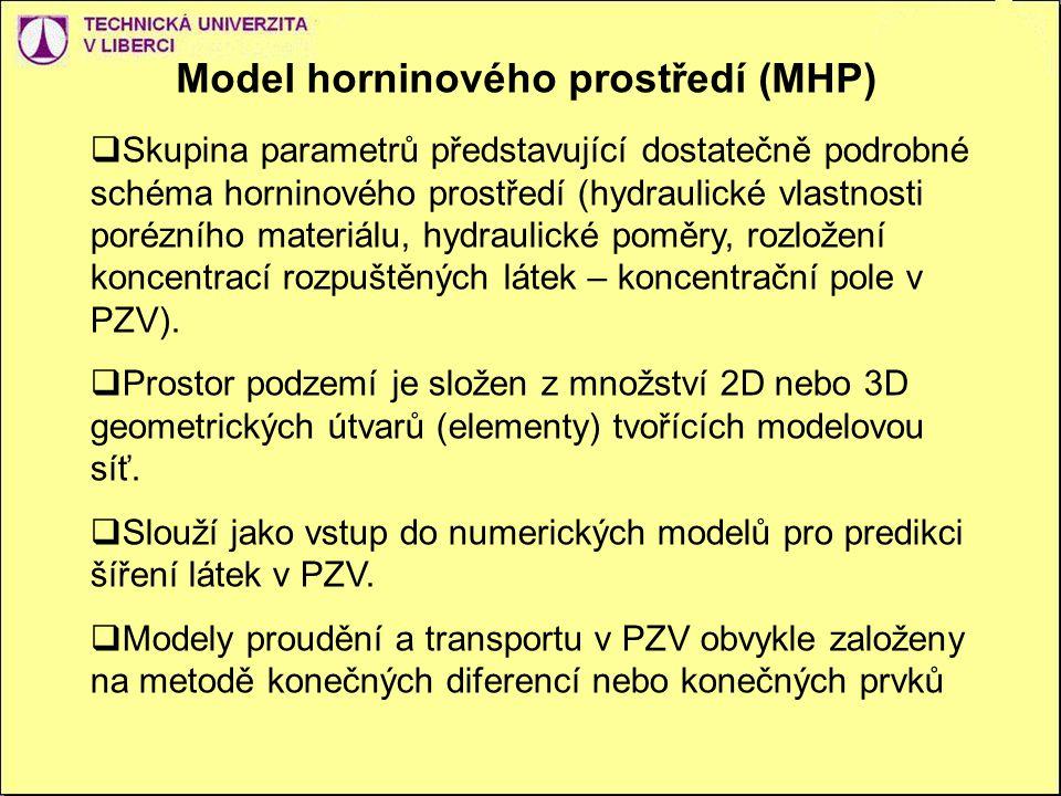 Model horninového prostředí (MHP)  Skupina parametrů představující dostatečně podrobné schéma horninového prostředí (hydraulické vlastnosti porézního materiálu, hydraulické poměry, rozložení koncentrací rozpuštěných látek – koncentrační pole v PZV).