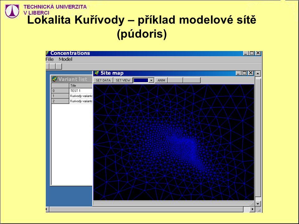 Lokalita Kuřívody – příklad modelové sítě (púdoris)