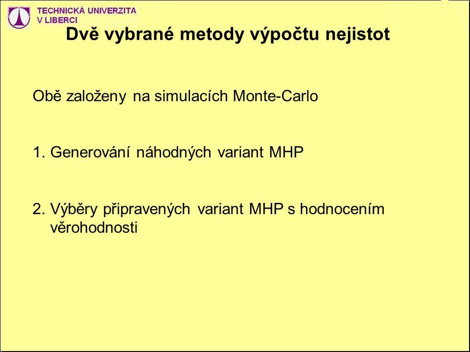 Dvě vybrané metody výpočtu nejistot Obě založeny na simulacích Monte-Carlo 1.Generování náhodných variant MHP 2.Výběry připravených variant MHP s hodnocením věrohodnosti