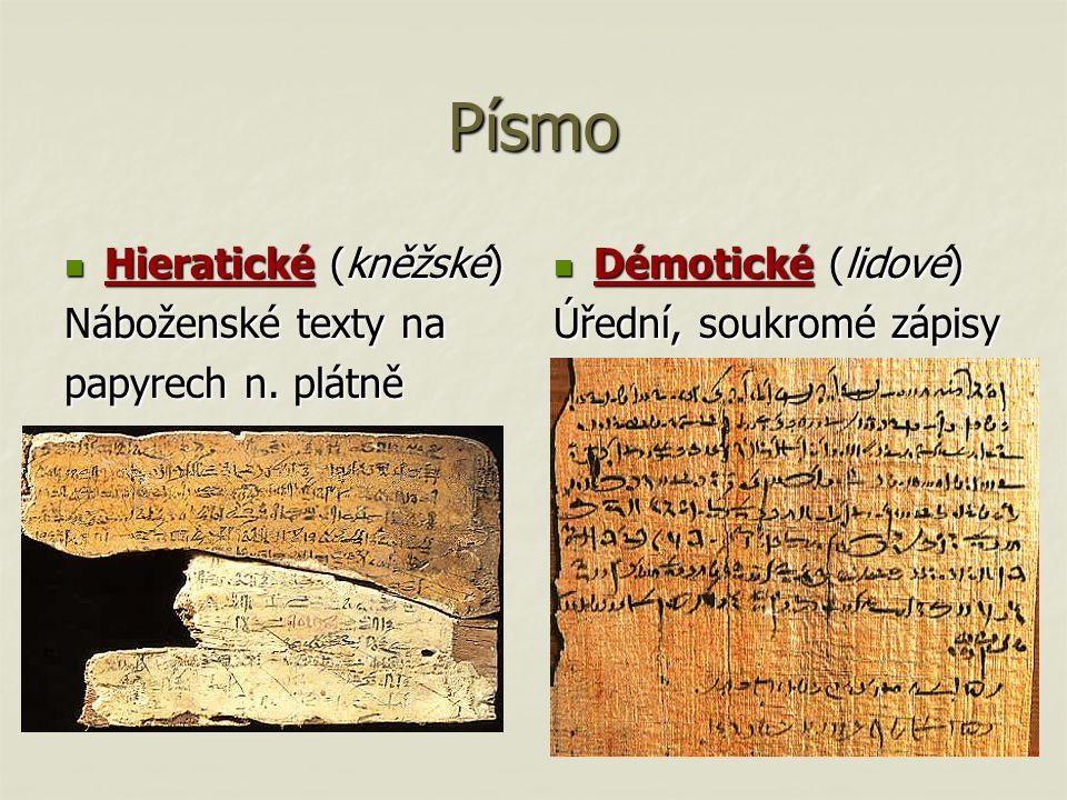 Písmo Hieratické (kněžské) Hieratické (kněžské) Náboženské texty na papyrech n. plátně Démotické (lidové) Démotické (lidové) Úřední, soukromé zápisy