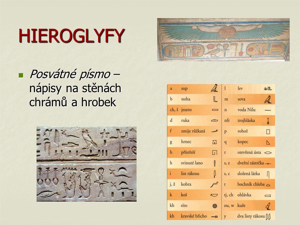 HIEROGLYFY Posvátné písmo – nápisy na stěnách chrámů a hrobek Posvátné písmo – nápisy na stěnách chrámů a hrobek