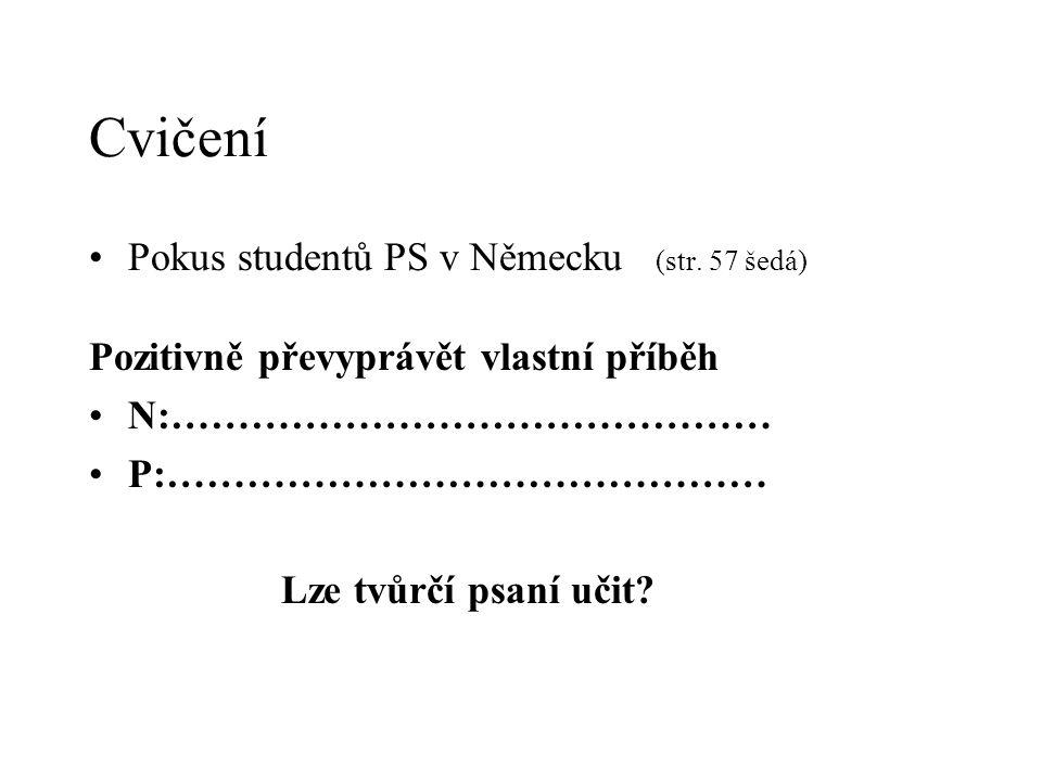Cvičení Pokus studentů PS v Německu (str. 57 šedá) Pozitivně převyprávět vlastní příběh N:……………………………………… P:……………………………………… Lze tvůrčí psaní učit?