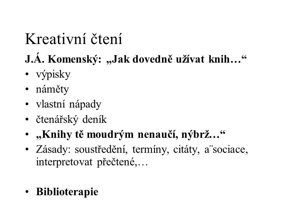"""Kreativní čtení J.Á. Komenský: """"Jak dovedně užívat knih…"""" výpisky náměty vlastní nápady čtenářský deník """"Knihy tě moudrým nenaučí, nýbrž…"""" Zásady: sou"""