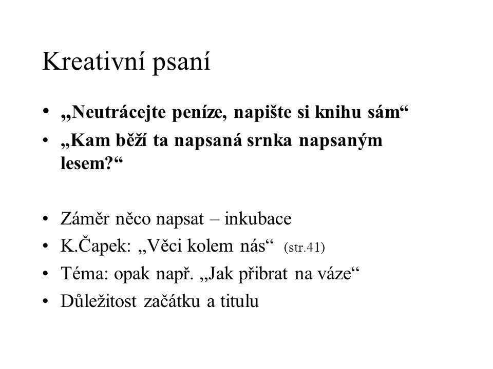 """Kreativní psaní """" Neutrácejte peníze, napište si knihu sám """"Kam běží ta napsaná srnka napsaným lesem Záměr něco napsat – inkubace K.Čapek: """"Věci kolem nás (str.41) Téma: opak např."""