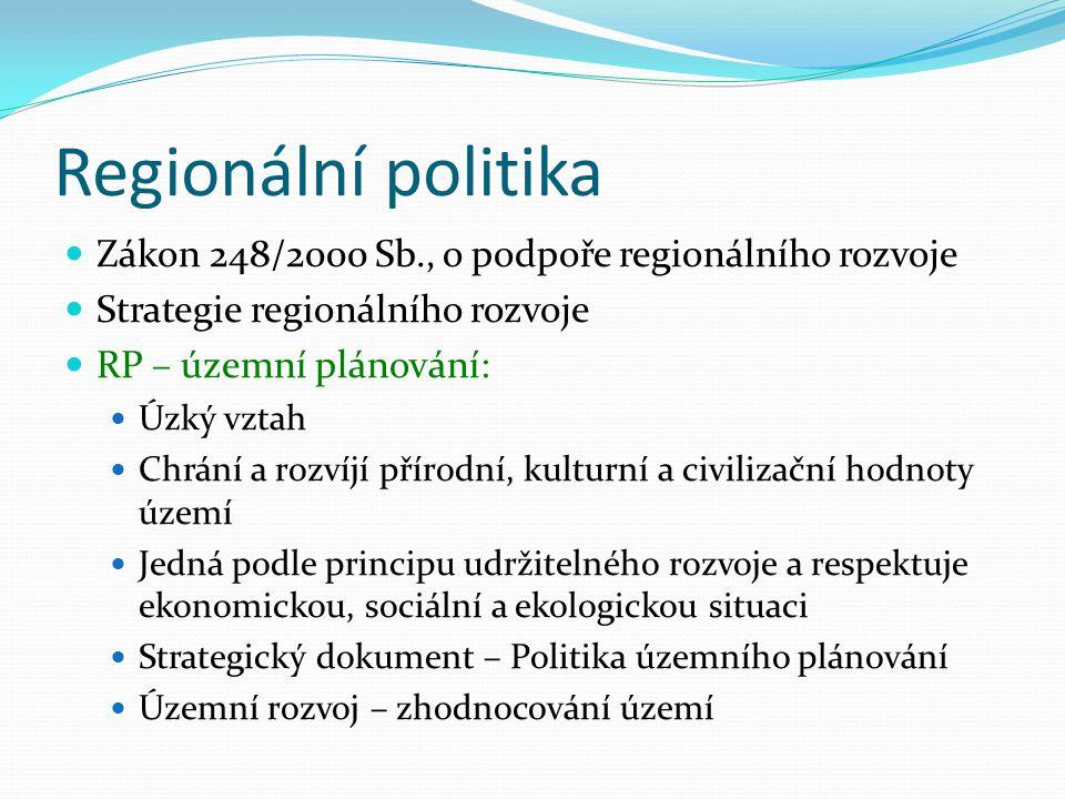 Regionální politika Zákon 248/2000 Sb., o podpoře regionálního rozvoje Strategie regionálního rozvoje RP – územní plánování: Úzký vztah Chrání a rozví