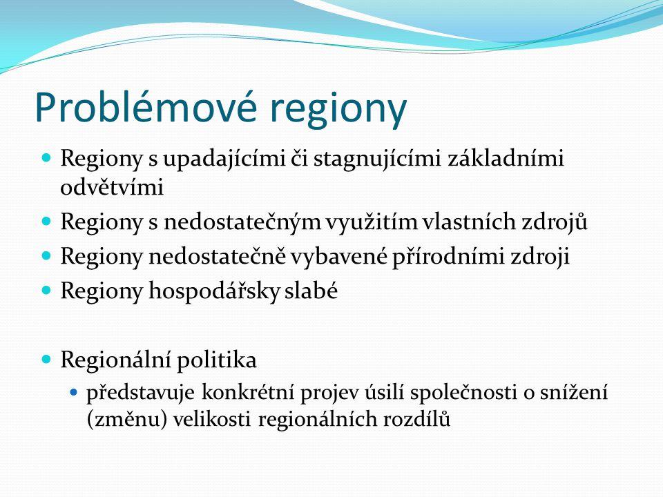 Problémové regiony Regiony s upadajícími či stagnujícími základními odvětvími Regiony s nedostatečným využitím vlastních zdrojů Regiony nedostatečně v