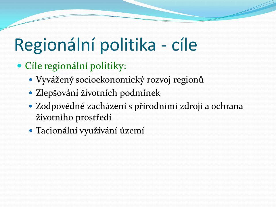 Regionální politika - cíle Cíle regionální politiky: Vyvážený socioekonomický rozvoj regionů Zlepšování životních podmínek Zodpovědné zacházení s přír