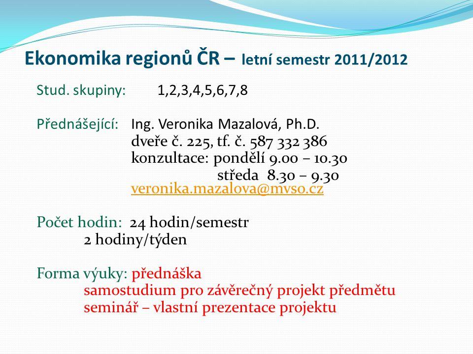 Ekonomika regionů ČR – letní semestr 2011/2012 Stud. skupiny: 1,2,3,4,5,6,7,8 Přednášející: Ing. Veronika Mazalová, Ph.D. dveře č. 225, tf. č. 587 332