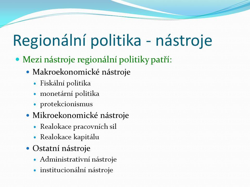 Regionální politika - nástroje Mezi nástroje regionální politiky patří: Makroekonomické nástroje Fiskální politika monetární politika protekcionismus