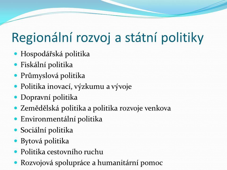 Regionální rozvoj a státní politiky Hospodářská politika Fiskální politika Průmyslová politika Politika inovací, výzkumu a vývoje Dopravní politika Ze