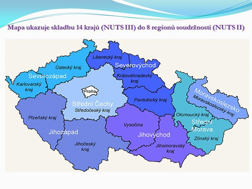 Mapa ukazuje skladbu 14 krajů (NUTS III) do 8 regionů soudržnosti (NUTS II)