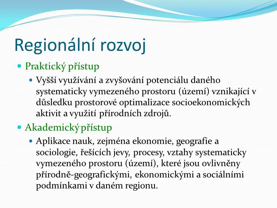 Regionální rozvoj Praktický přístup Vyšší využívání a zvyšování potenciálu daného systematicky vymezeného prostoru (území) vznikající v důsledku prost