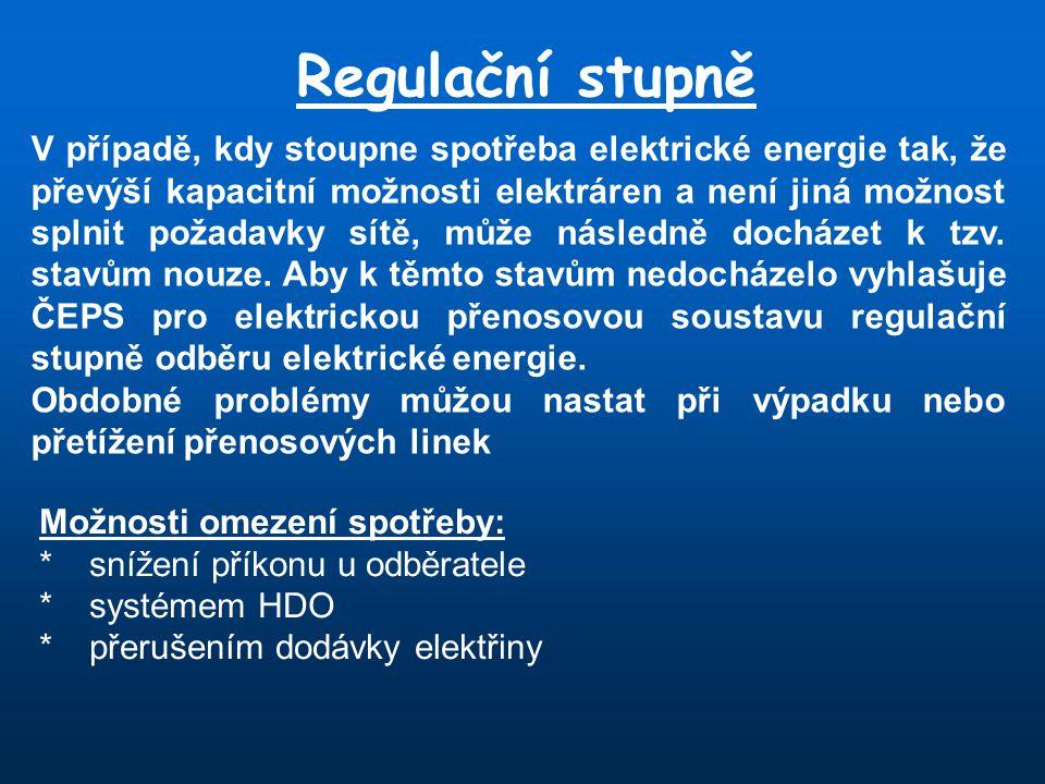 Regulační stupně V případě, kdy stoupne spotřeba elektrické energie tak, že převýší kapacitní možnosti elektráren a není jiná možnost splnit požadavky sítě, může následně docházet k tzv.