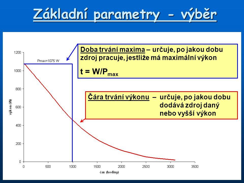 Základní parametry - výběr Doba trvání maxima – určuje, po jakou dobu zdroj pracuje, jestliže má maximální výkon t = W/P max Čára trvání výkonu –určuje, po jakou dobu dodává zdroj daný nebo vyšší výkon