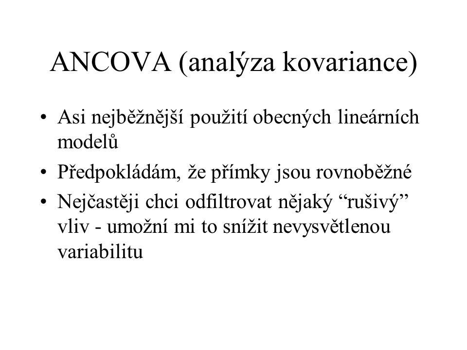 ANCOVA (analýza kovariance) Asi nejběžnější použití obecných lineárních modelů Předpokládám, že přímky jsou rovnoběžné Nejčastěji chci odfiltrovat něj