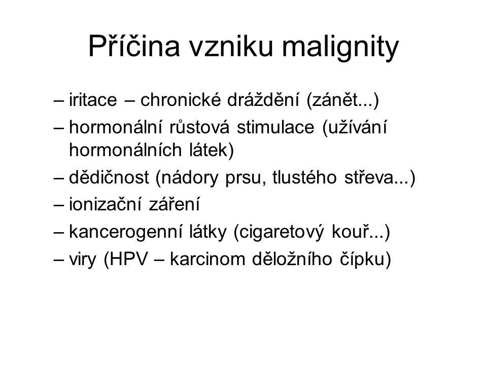 Příčina vzniku malignity –iritace – chronické dráždění (zánět...) –hormonální růstová stimulace (užívání hormonálních látek) –dědičnost (nádory prsu,