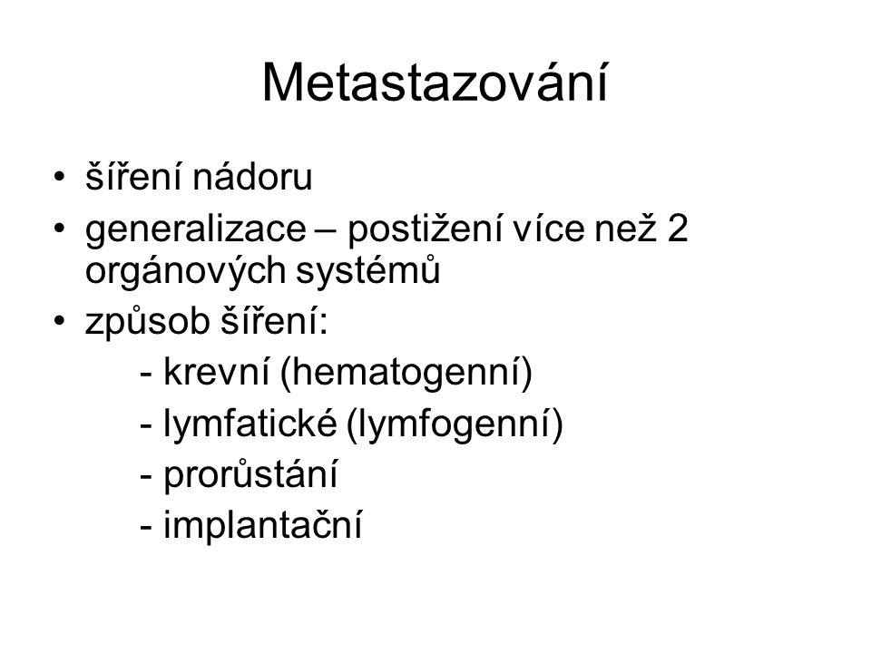 Metastazování šíření nádoru generalizace – postižení více než 2 orgánových systémů způsob šíření: - krevní (hematogenní) - lymfatické (lymfogenní) - p