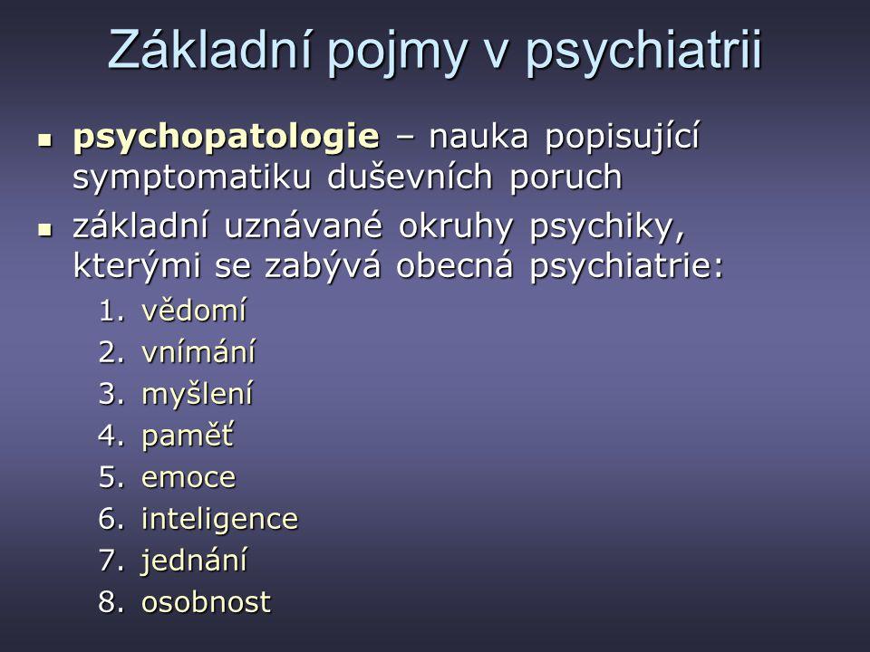 Základní pojmy v psychiatrii psychopatologie – nauka popisující symptomatiku duševních poruch psychopatologie – nauka popisující symptomatiku duševníc
