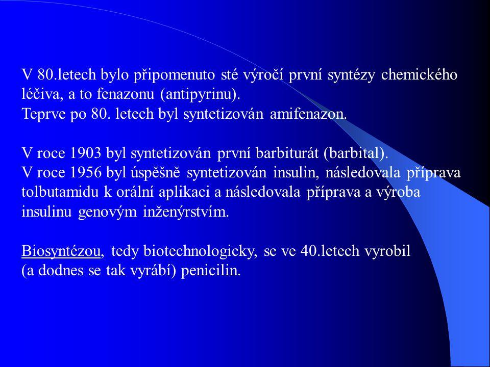 V 80.letech bylo připomenuto sté výročí první syntézy chemického léčiva, a to fenazonu (antipyrinu). Teprve po 80. letech byl syntetizován amifenazon.