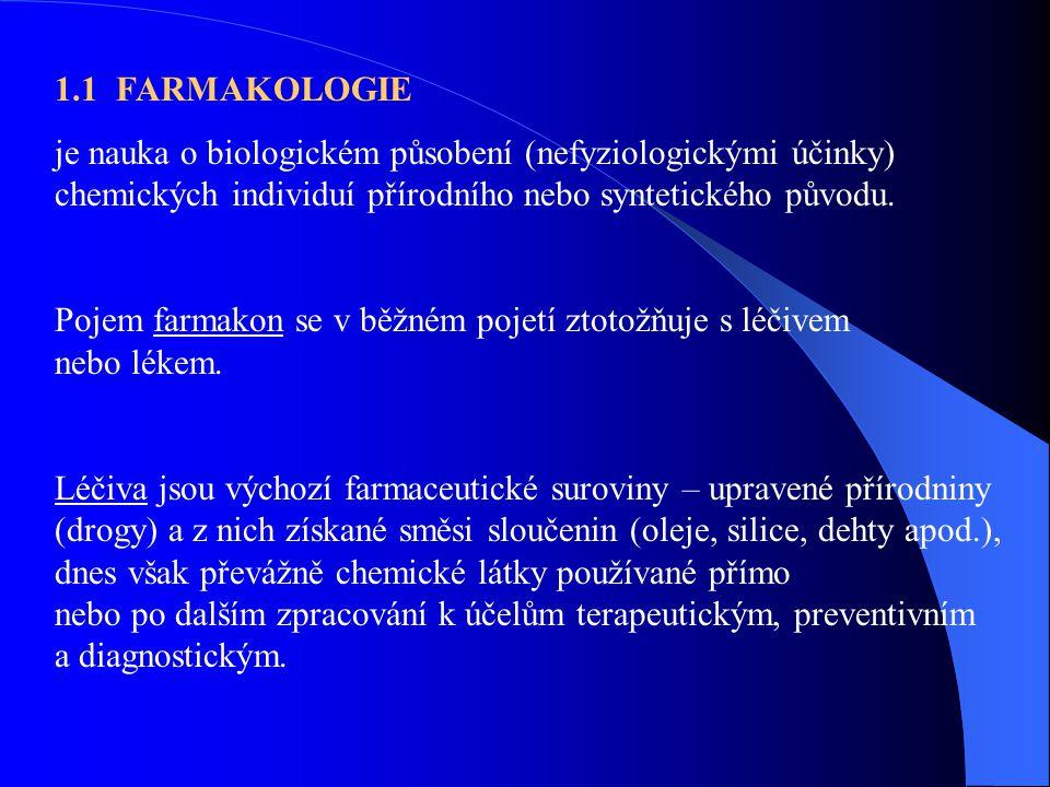 1.1 FARMAKOLOGIE je nauka o biologickém působení (nefyziologickými účinky) chemických individuí přírodního nebo syntetického původu. Pojem farmakon se