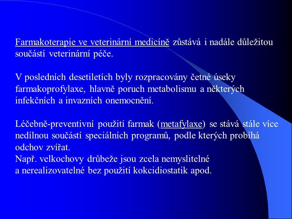 Farmakoterapie ve veterinární medicíně zůstává i nadále důležitou součástí veterinární péče. V posledních desetiletích byly rozpracovány četné úseky f