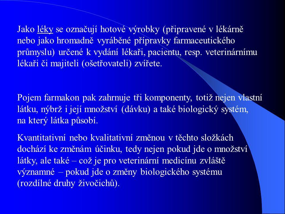Jako léky se označují hotové výrobky (připravené v lékárně nebo jako hromadně vyráběné přípravky farmaceutického průmyslu) určené k vydání lékaři, pac