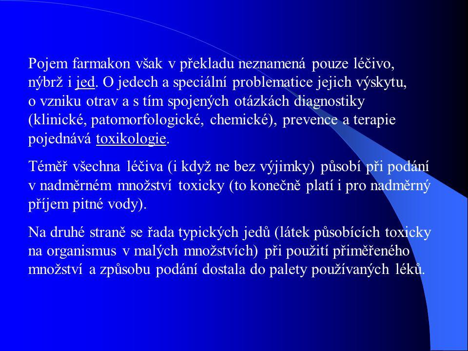 Pojem farmakon však v překladu neznamená pouze léčivo, nýbrž i jed. O jedech a speciální problematice jejich výskytu, o vzniku otrav a s tím spojených