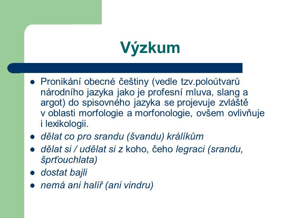 Výzkum Pronikání obecné češtiny (vedle tzv.poloútvarů národního jazyka jako je profesní mluva, slang a argot) do spisovného jazyka se projevuje zvláště v oblasti morfologie a morfonologie, ovšem ovlivňuje i lexikologii.