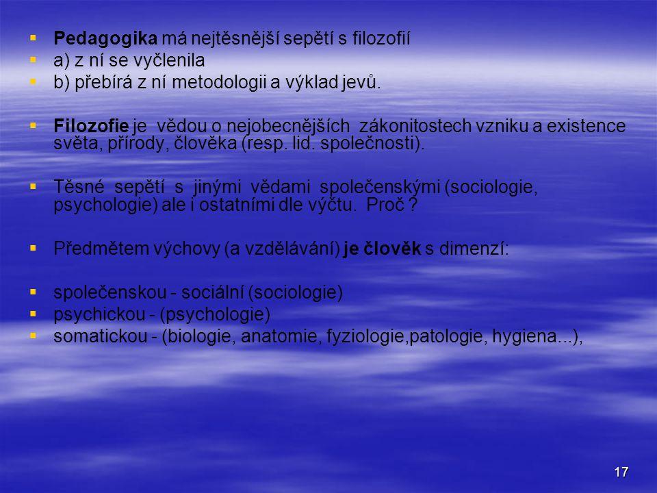 17   Pedagogika má nejtěsnější sepětí s filozofií   a) z ní se vyčlenila   b) přebírá z ní metodologii a výklad jevů.