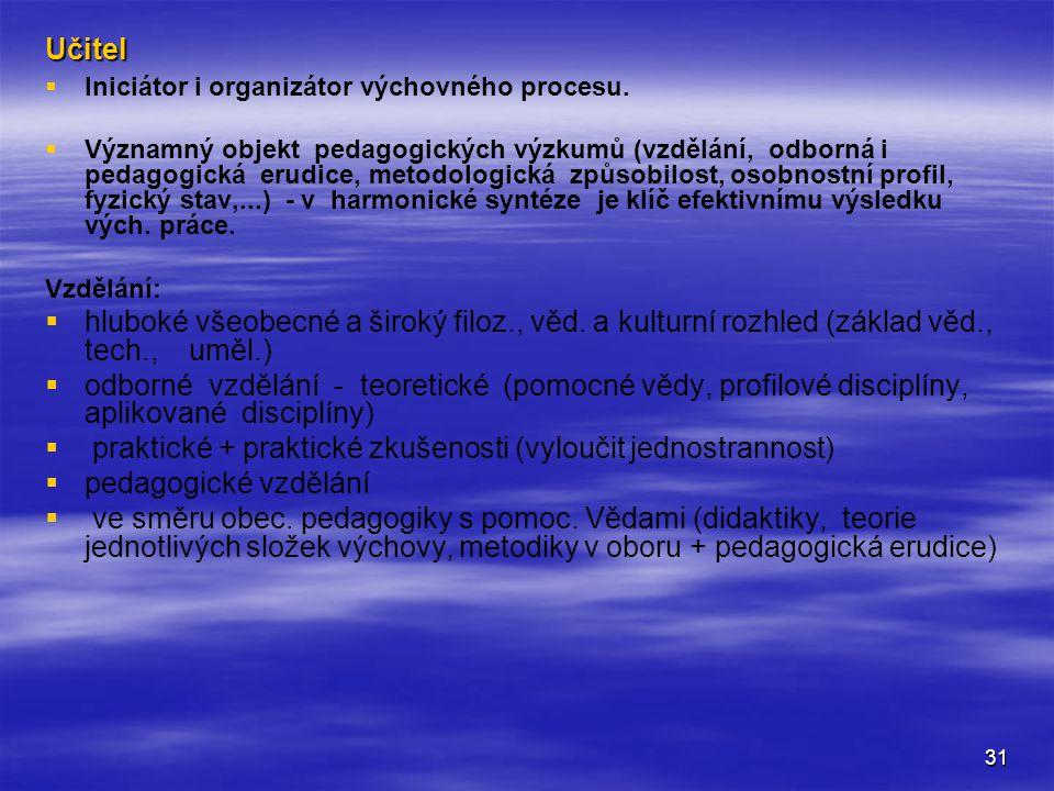 31 Učitel   Iniciátor i organizátor výchovného procesu.