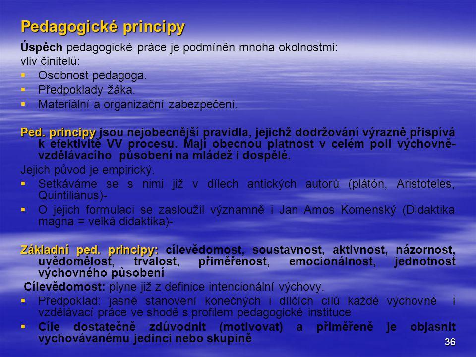 36 Pedagogické principy Úspěch pedagogické práce je podmíněn mnoha okolnostmi: vliv činitelů:   Osobnost pedagoga.