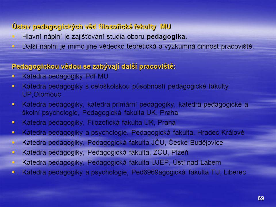 69 Ústav pedagogických věd filozofické fakulty MU   Hlavní náplní je zajišťování studia oboru pedagogika.