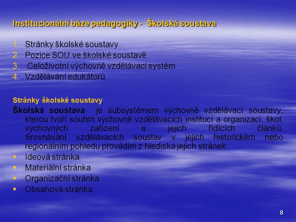 9 Výchovně vzdělávací soustava:   Je systém výchovně vzdělávacích institucí, jejichž základem je systém škol a výchovných zařízení.