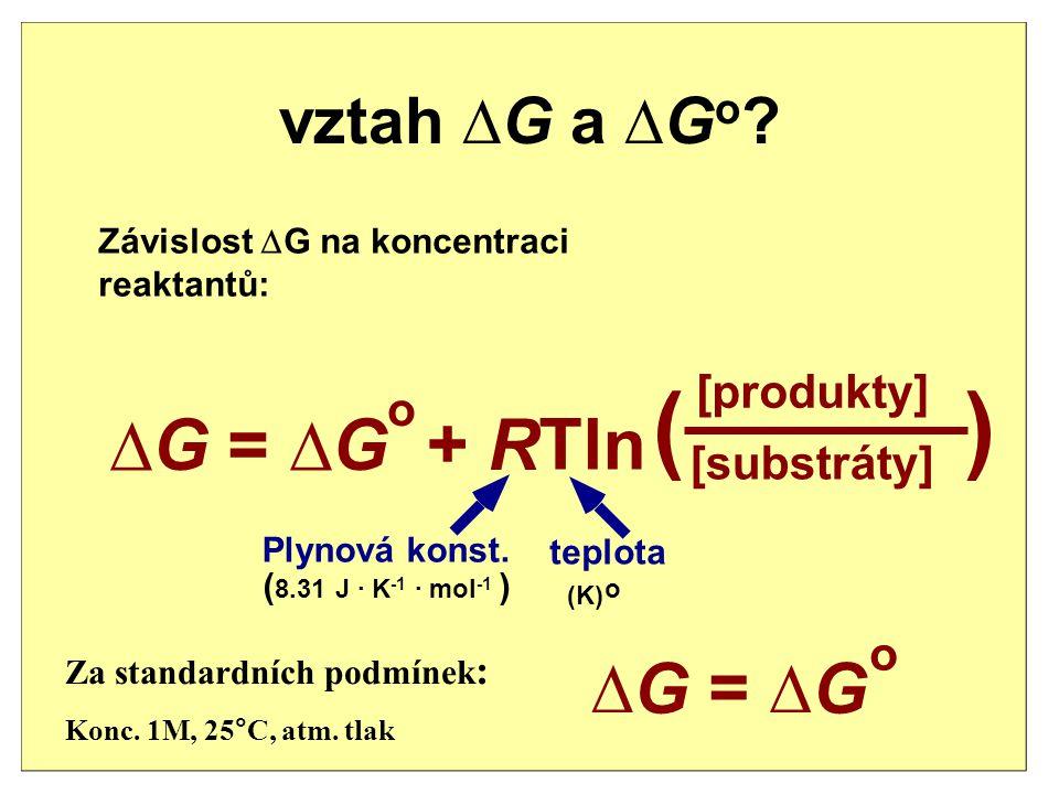 Volná energie je mírou vzdálenosti reakce od rovnováhy. Volná energie A + B P  G > 0  G < 0 A + B P  G = 0 A + BP  G rxn  G  G rxn = G produktůt