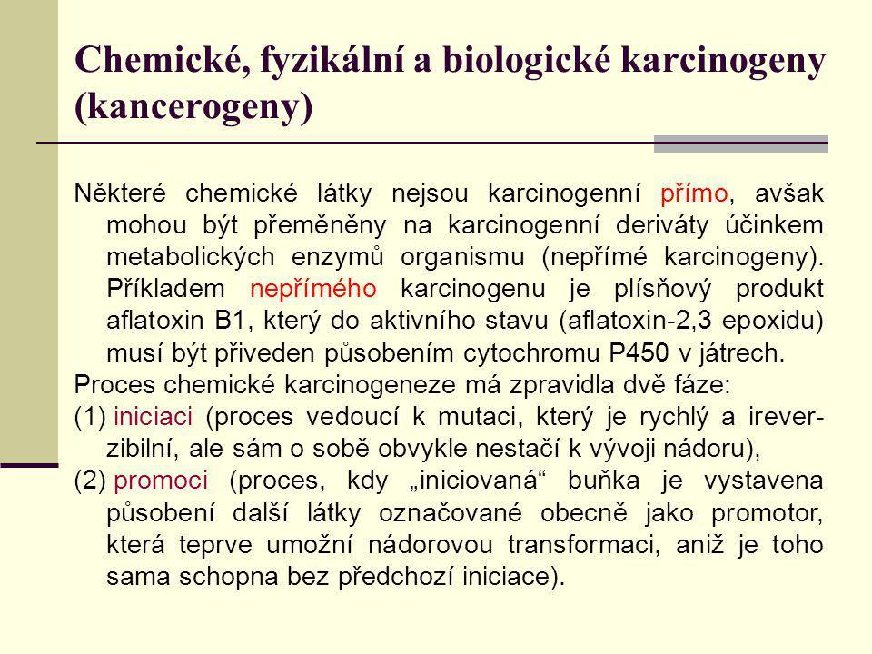 Chemické, fyzikální a biologické karcinogeny (kancerogeny) Některé chemické látky nejsou karcinogenní přímo, avšak mohou být přeměněny na karcinogenní