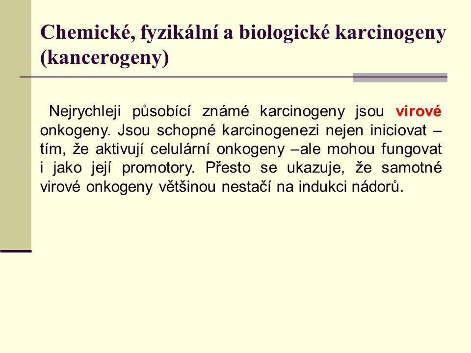 Chemické, fyzikální a biologické karcinogeny (kancerogeny) Nejrychleji působící známé karcinogeny jsou virové onkogeny. Jsou schopné karcinogenezi nej