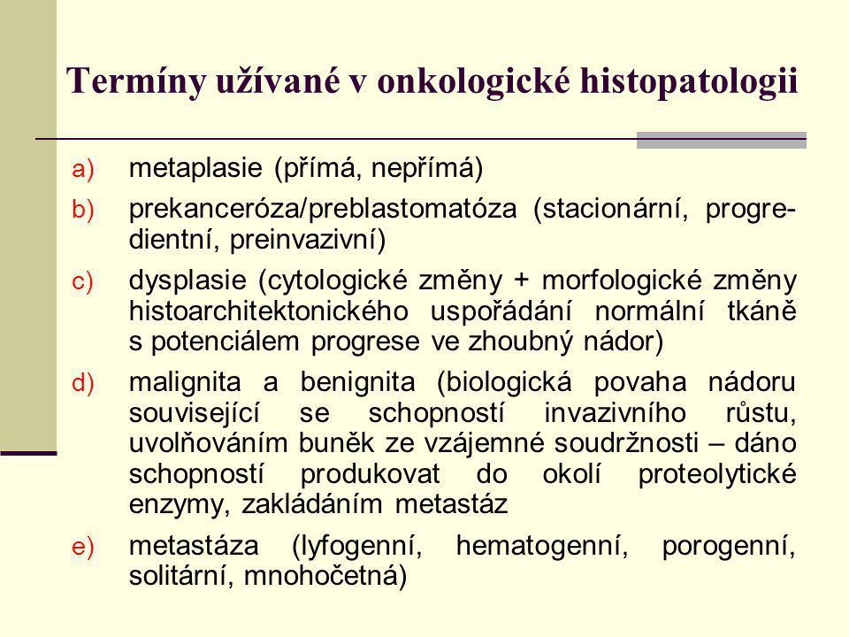 Termíny užívané v onkologické histopatologii a) metaplasie (přímá, nepřímá) b) prekanceróza/preblastomatóza (stacionární, progre- dientní, preinvazivn