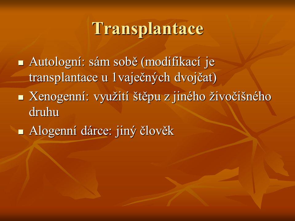 Transplantace Autologní: sám sobě (modifikací je transplantace u 1vaječných dvojčat) Autologní: sám sobě (modifikací je transplantace u 1vaječných dvo