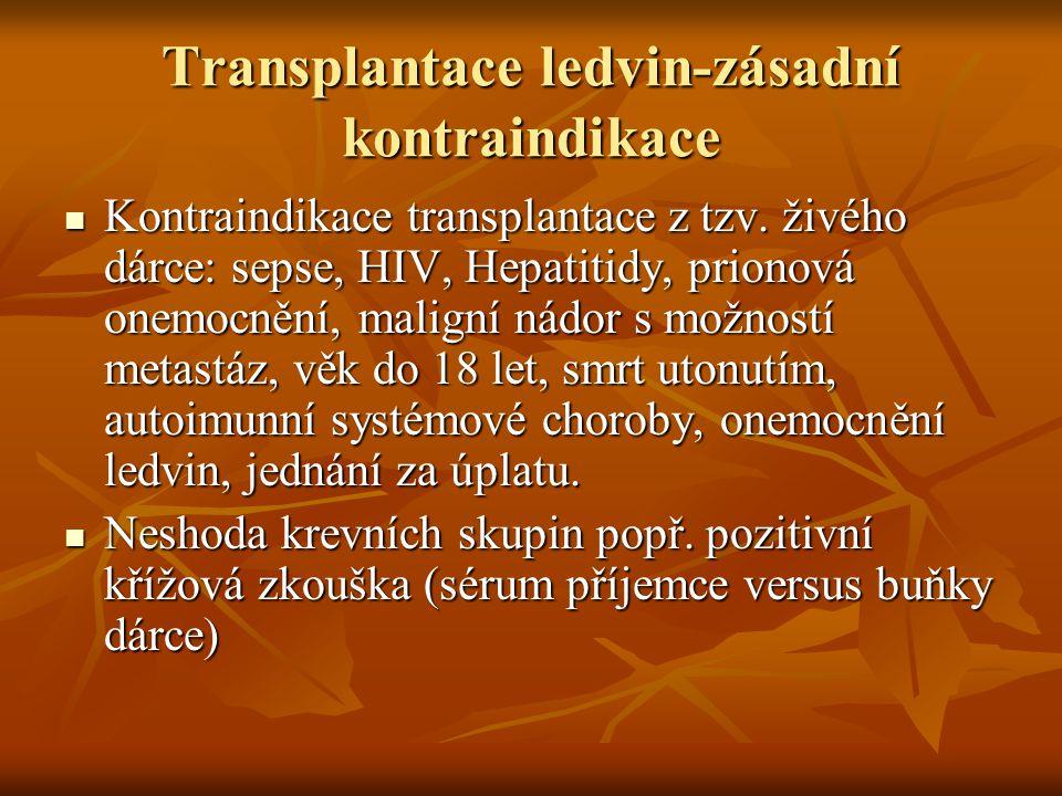 Transplantace ledvin-zásadní kontraindikace Kontraindikace transplantace z tzv. živého dárce: sepse, HIV, Hepatitidy, prionová onemocnění, maligní nád